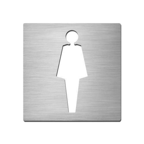 Brushed stainless steel square female symbol plate