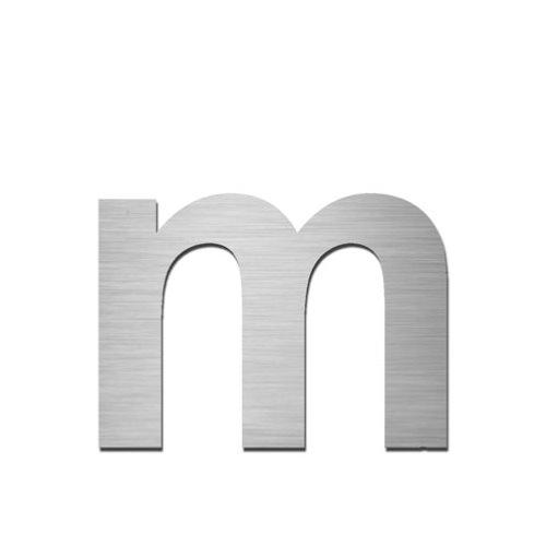 Brushed stainless steel lowercase letter - m
