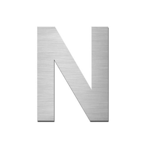 Brushed stainless steel capital letter - N