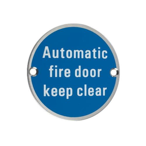 ARKITUR stainless steel automatic fire door keep clear sign