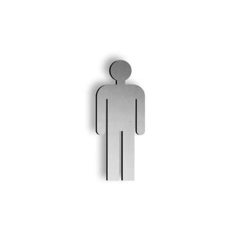 Brushed stainless steel 250mm high Male pictogram symbol