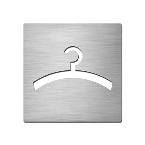 Brushed stainless steel square cloakroom symbol plate