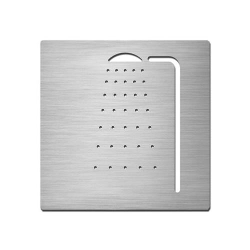 Brushed stainless steel square shower symbol
