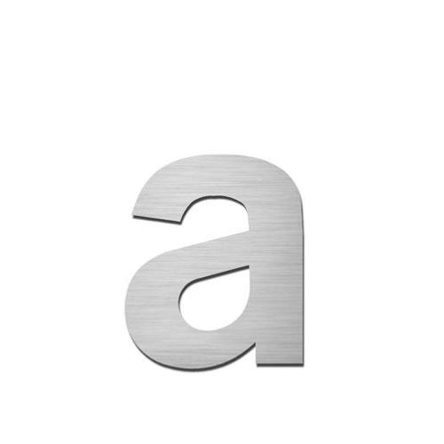 Brushed stainless steel lowercase letter - a