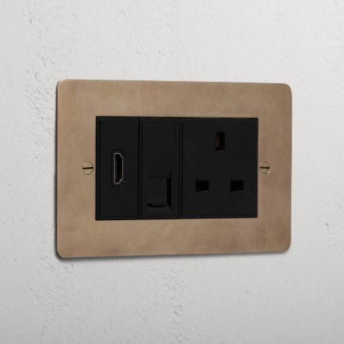 Corston 2G Module Socket - UK Plug Socket & CAT6 & HDMI