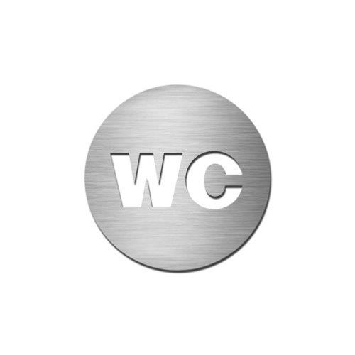 Brushed stainless steel circular WC symbol disc