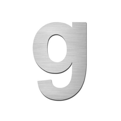 Brushed stainless steel lowercase letter - g