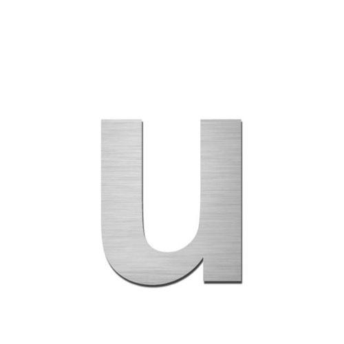 Brushed stainless steel lowercase letter - u