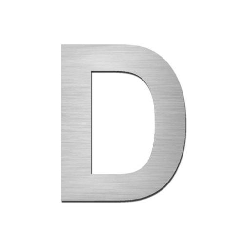 Brushed stainless steel capital letter - D