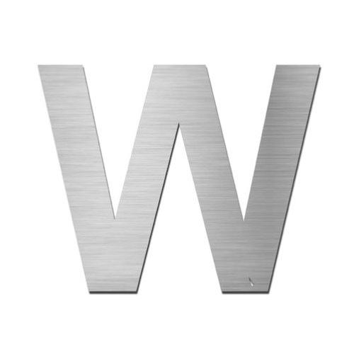 Brushed stainless steel capital letter - W