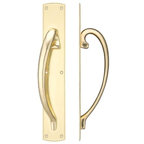 Fulton and Bray Cast Brass Handed Large Pull Handle with Backplate