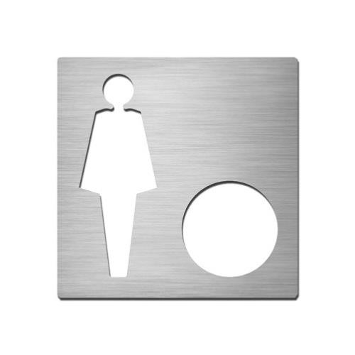 Brushed stainless steel square female symbol plate with hole