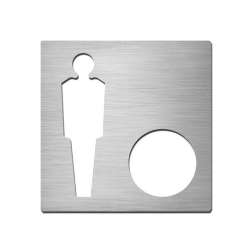 Brushed stainless steel square male symbol plate with hole