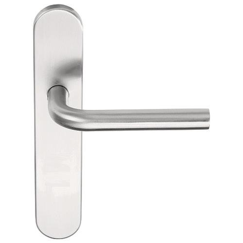 LBIII-19P13 stainless steel lever handle on plate with metal sub-rose
