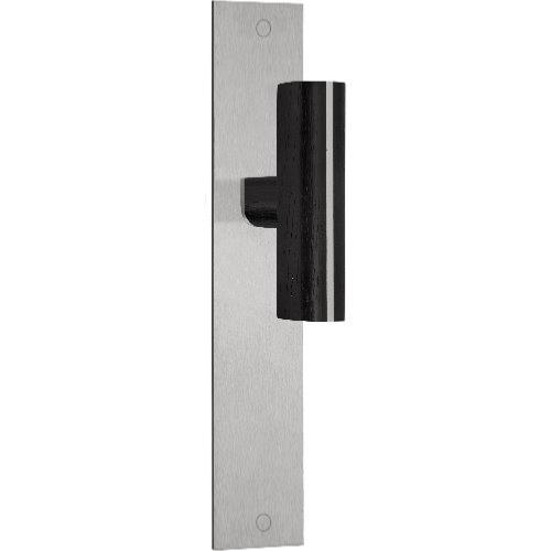 PBT22P236 stainless steel and oak wood lever handle on plate
