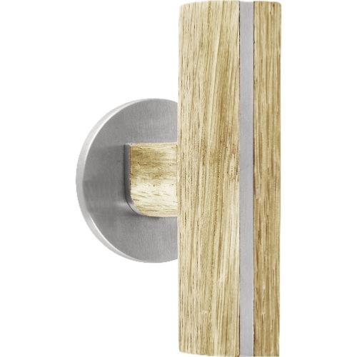 PBT22G brushed stainless steel and oak wood set of knobs for glass doors