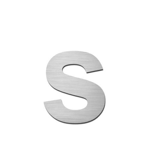 brushed stainless steel lowercase letter s