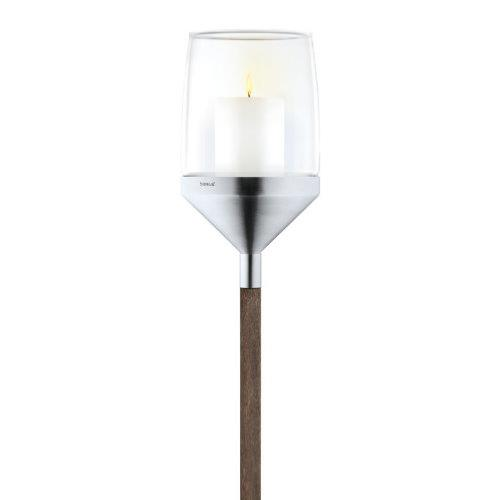 BLOMUS Atmo Brushed Stainless Steel Candle Holder on Wooden Pole