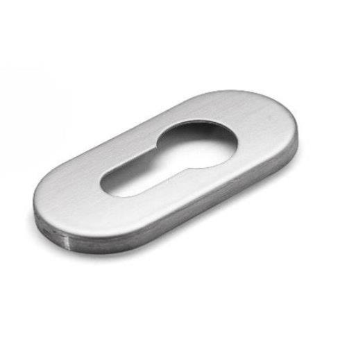 d line single polished stainless steel concealed fixing oval europrofile cylinder escutcheon