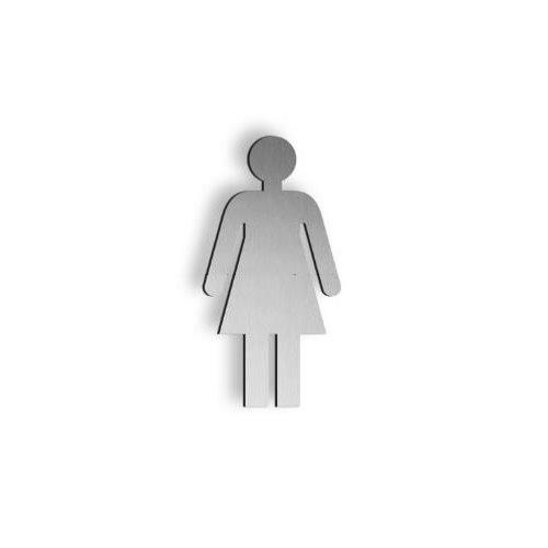 Brushed stainless steel 250mm high Female pictogram symbol