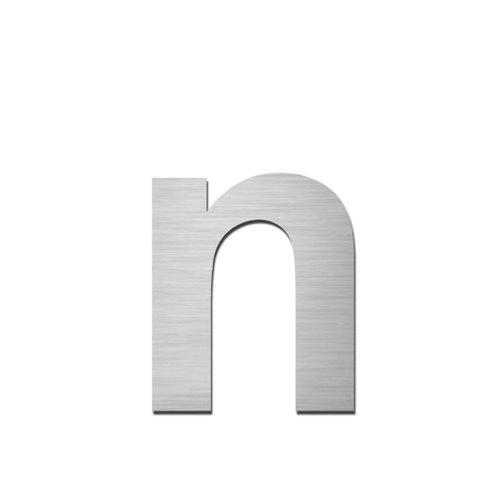 Brushed stainless steel lowercase letter - n