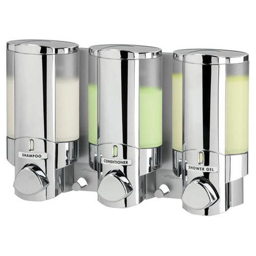 Aviva Chrome Triple Non Locking Soap Shampoo Dispenser