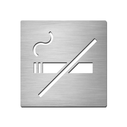 Brushed stainless steel square no smoking symbol plate