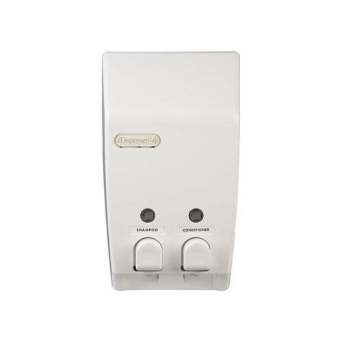 Classic White Double Soap Shampoo Lotion Dispenser