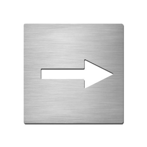 Brushed stainless steel square plate with arrow