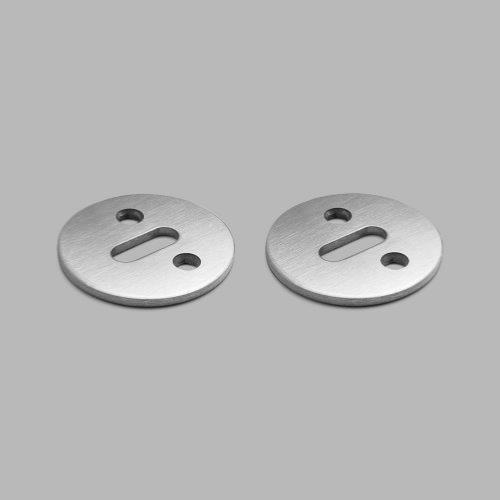 d line single brushed stainless steel visible fixing round lever key escutcheon