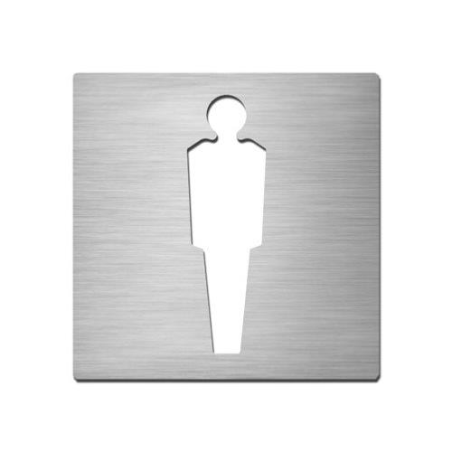 Brushed stainless steel square male symbol plate