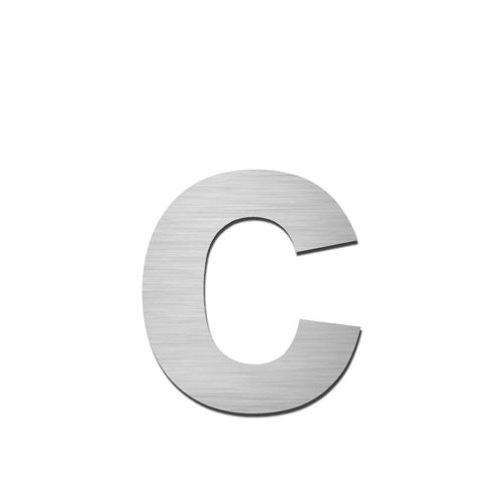Brushed stainless steel lowercase letter - c