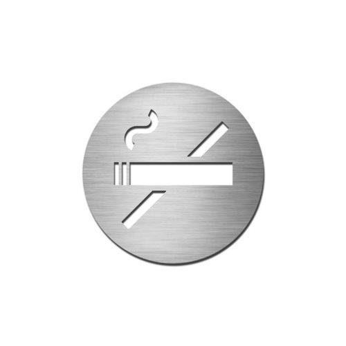 Brushed stainless steel circular no smoking symbol