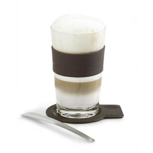 BLOMUS Desa Glass Latte Cup Coaster and Spoon