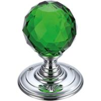 Fulton and Bray Facetted glass ball mortice knob set