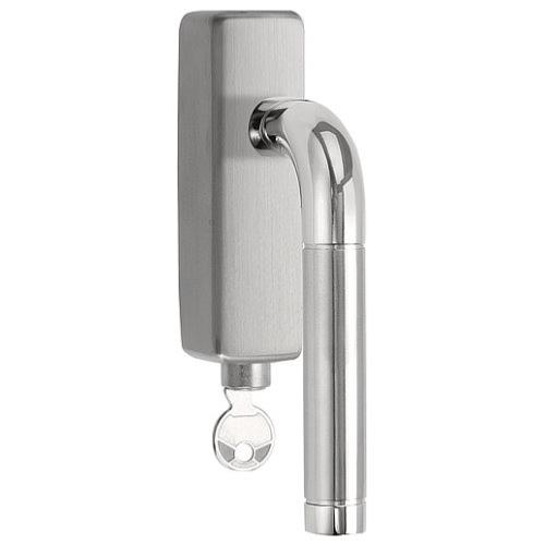 LBXVII-DKLOCK-O brushed and polished stainless steel locking tilt and turn window handle