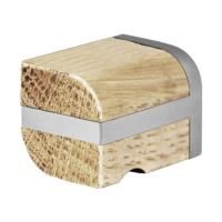 PB22M brushed stainless steel and oak wood solid cabinet knob