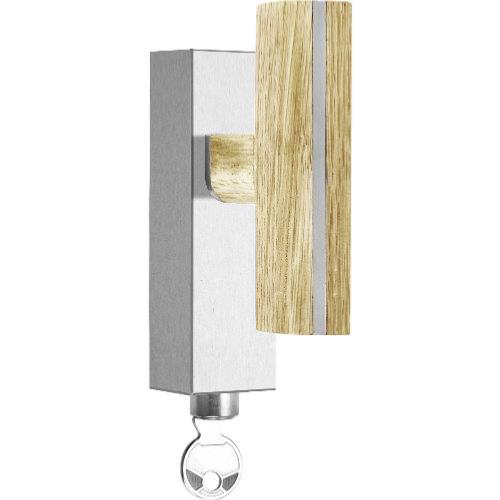 PBT22-DKLOCK brushed stainless steel and oak wood locking tilt and turn window handle