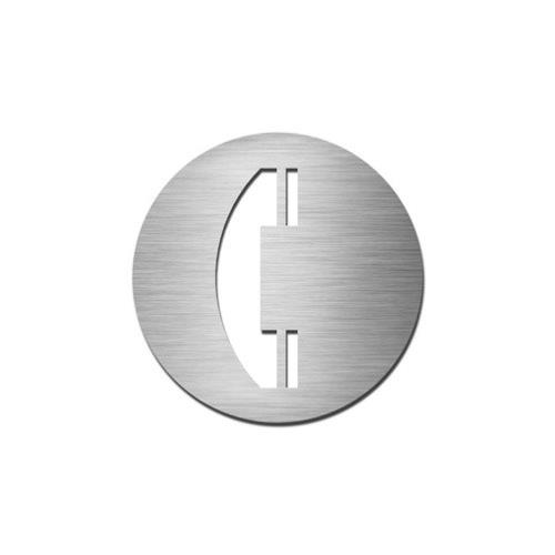 Brushed stainless steel circular telephone symbol