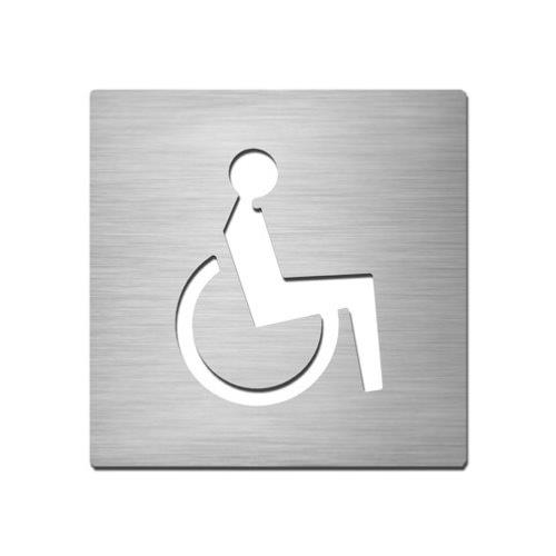Brushed stainless steel square ambulant symbol