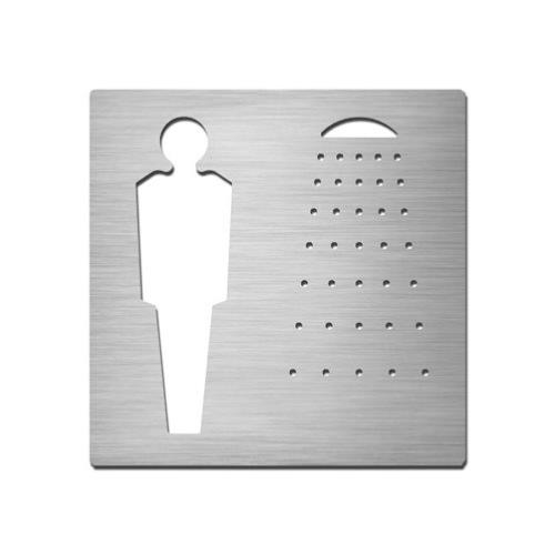 Brushed stainless steel square male shower symbol