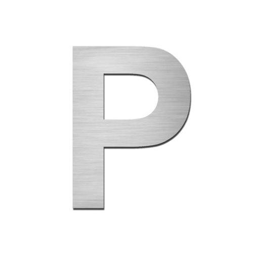 Brushed stainless steel capital letter - P