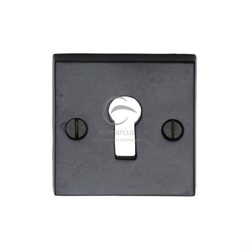 M.Marcus Black Iron Rustic FB159 Square Lever Key Escutcheon